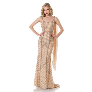 Terani Couture Women's Tan Chiffon Long Beaded Pageant Gown