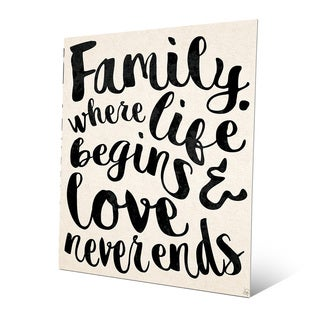 'Family Life Begins, Never Ends' Metal Wall Art