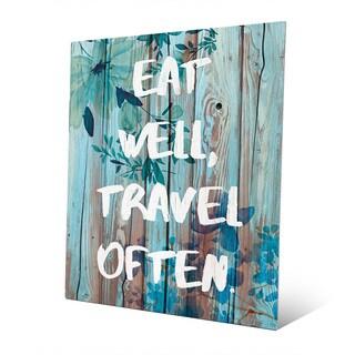 'Eat Well, Travel Often in Blue' Wall Art on Metal