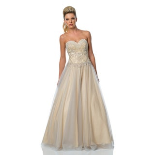 Terani Couture Tan Strapless Sweetheart Ball Gown