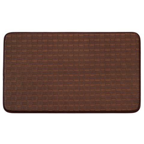 """Chef Gear Faux-Leather Basket Weave 18 x 30 in. Comfort Chef Mat - 1'5"""" x 2'5"""""""