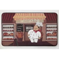 """Chef Gear Happy Chef Faux Leather Anti-Fatigue Cushioned Chef Mat - 1'5"""" x 2'5"""""""