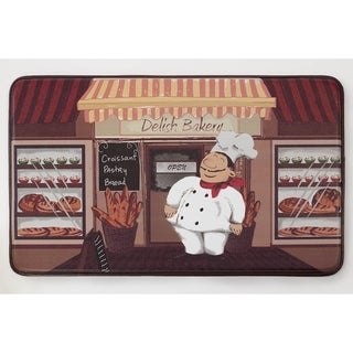 "Chef Gear Happy Chef Faux Leather Anti-Fatigue Cushioned Chef Mat - 1'5"" x 2'5"""