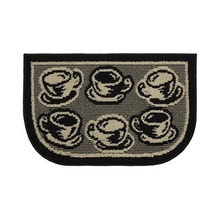 "Structures Coffee Rush Textured Loop Wedge-Shaped Kitchen Slice Rug (1'5"" x 2'5"")"