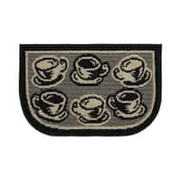 "Structures Coffee Rush Textured Loop Wedge-Shaped Kitchen Slice Rug (1'6 x 2'6) - 1'5"" x 2'5"""