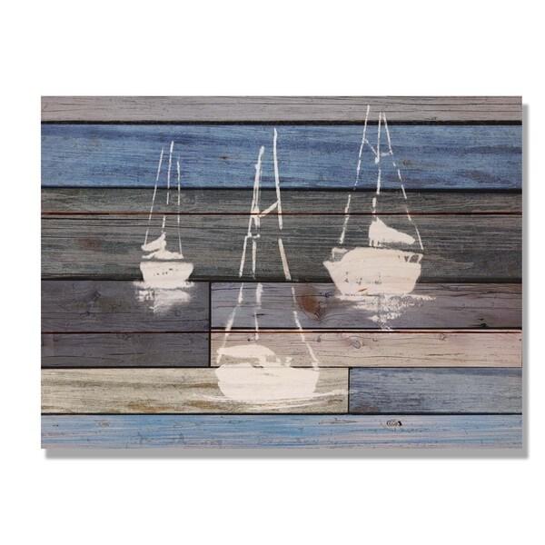 Blue Sailboats 15x11 Indoor/Outdoor Full Color Cedar Wall Art