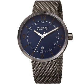 August Steiner Men's Classic Date Stainless Steel Mesh Blue/Gun Bracelet Watch