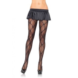 Leg Avenue Women's Bow Lace Black Nylon Pantyhose