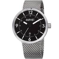 August Steiner Men's Classic Date Stainless Steel Mesh Silver-Tone/Black Bracelet Watch