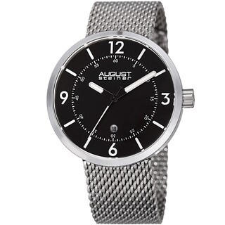 August Steiner Men's Classic Date Stainless Steel Mesh Silver-Tone/Black Bracelet Watch