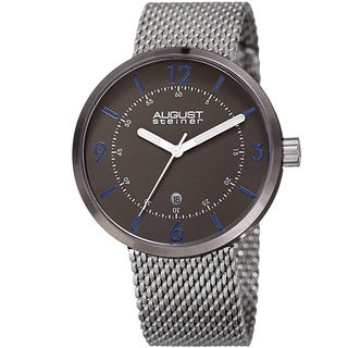 August Steiner Men's Classic Date Stainless Steel Mesh Silver-Tone/Gun Bracelet Watch
