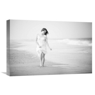 Global Gallery Jae 'A Walk On The Beach' Stretched Canvas Artwork
