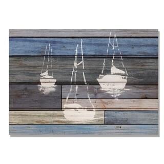 Blue Sailboats 20x14 Indoor/Outdoor Full Color Cedar Wall Art