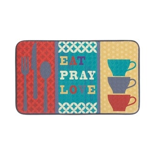 "Chef Gear Anti-Fatigue Faux Leather 18 x 30 in. Eat Pray Love Kitchen Mat - 1'5"" x 2'5"""