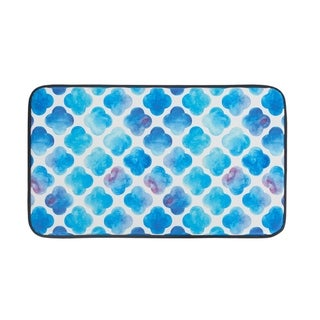"""Chef Gear Faux Leather Anti-Fatigue Watercolor Clover Kitchen Mat (18 x 30) - watercolor clover - 1'5"""" x 2'5"""""""