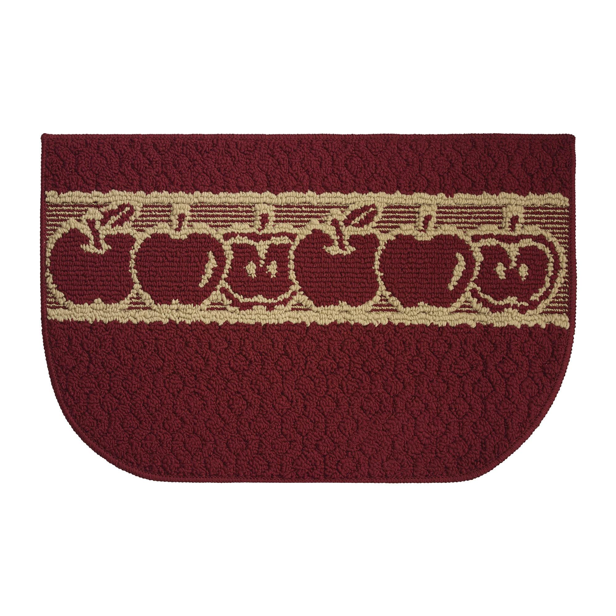 Structures Sunnyside Apples Red Olefin Textured Loop Wedge Kitchen Rug 1 5 X 2 5 Overstock 14275061