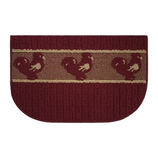 "Structures Chicken Joy Red Olefin 18-inch x 30-inch Textured Loop Wedge Kitchen Rug - 1'5"" x 2'5"""