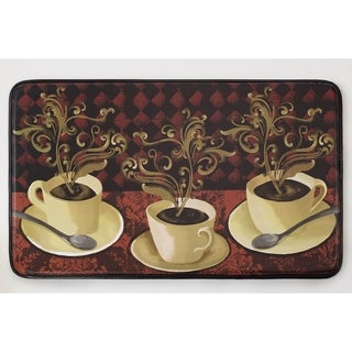 """Chef Gear Lotus Café Faux Leather Anti-Fatigue 18 x 30 in. Cushioned Chef Mat - 1'5"""" x 2'5"""""""