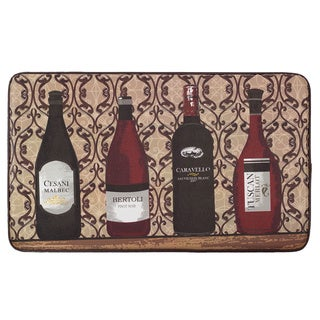 """Chef Gear Assorted Wines Faux Leather Anti-Fatigue Cushioned Chef Mat (1'5"""" x 2'5"""")"""