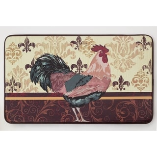 """Chef Gear Imperial Rooster Faux Leather Anti-Fatigue 18 x 30 in. Cushioned Chef Mat - 1'5"""" x 2'5"""""""