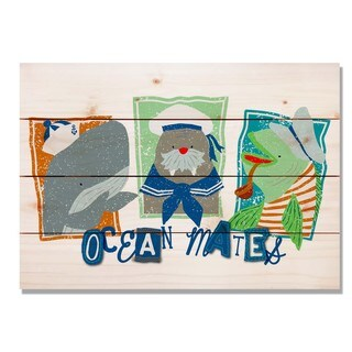 Three Ocean Mates 20x14 Indoor/Outdoor Full Color Cedar Wall Art