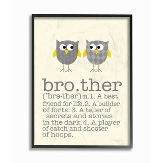 'Brother Definition Two Owls' Framed Giclee Texturized Art