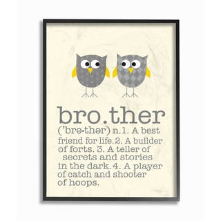 'Brother Definition Two Owls' Framed Giclee Texturized Art|https://ak1.ostkcdn.com/images/products/14275110/P20860729.jpg?impolicy=medium