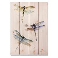 Three Dragonflies 14x20 Indoor/Outdoor Full Color Cedar Wall Art