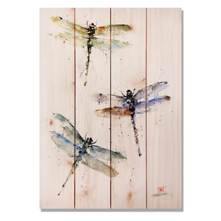 Three Dragonflies 14x20 Indoor/Outdoor Full Color Cedar Wall Art