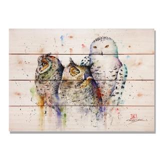 Sig Series Owl Trio 20x14 Indoor/Outdoor Full Color Cedar Wall Art