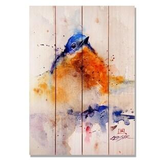 Baby Blue Bird 14x20 Indoor/Outdoor Full Color Cedar Wall Art