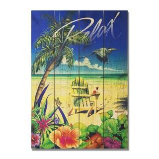 Palm Chair 14x20 Indoor/Outdoor Full Color Cedar Wall Art