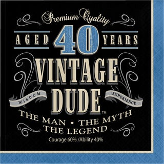 Vintage Dude 40 Years Old Lunch Napkins (Case of 12 Packs, 16 Each)