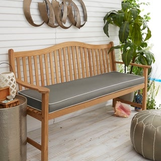 Sunbrella Charcoal with Ivory Indoor/ Outdoor Bench Cushion, Corded