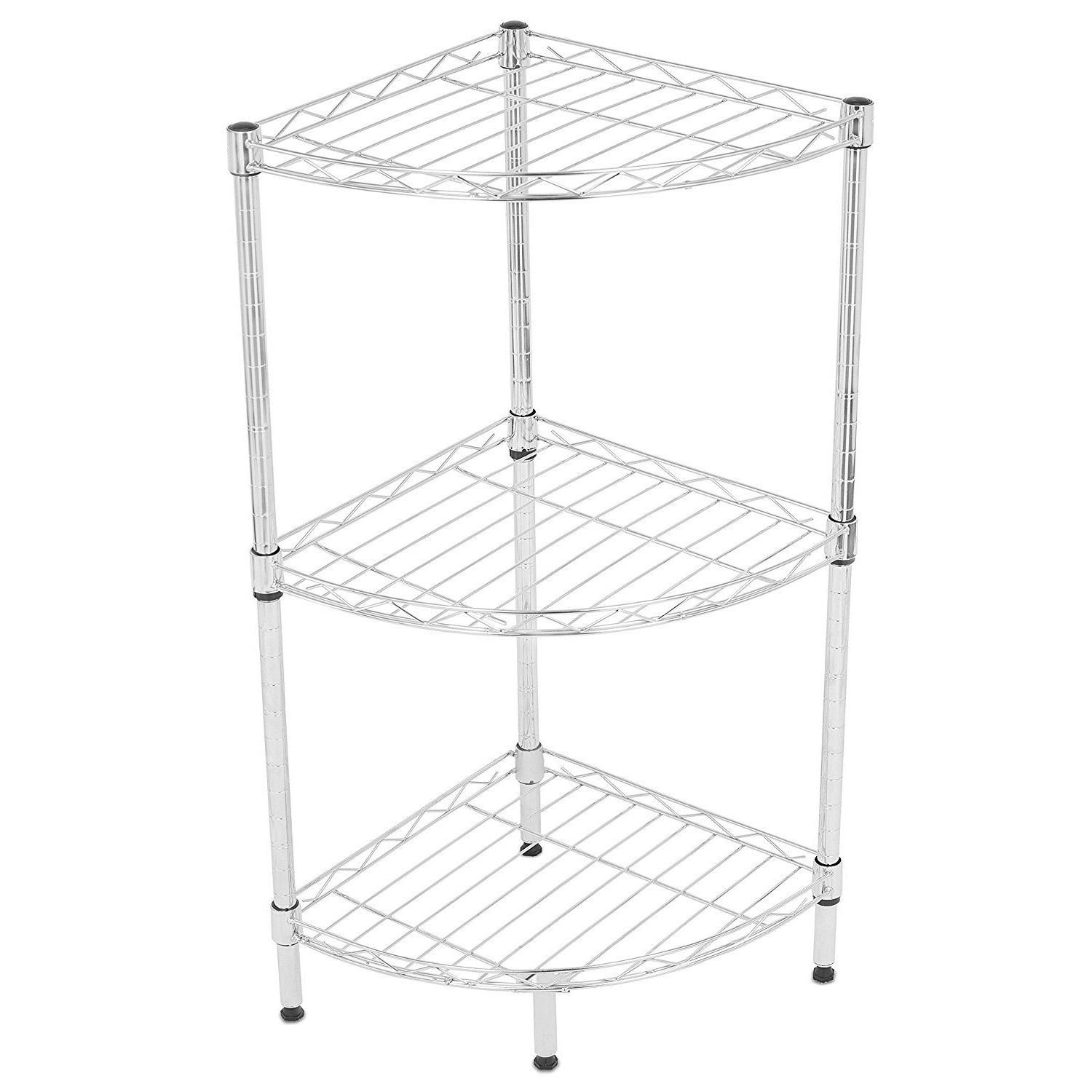 Internet's Best 3-Tier Corner Wire Shelving (Chrome Heavy...
