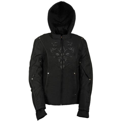 Women's Black Nylon Textile Jacket with Reflective Tribal Detail