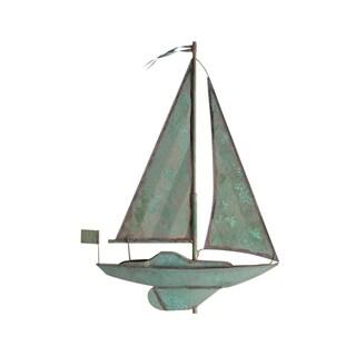 White Hall Verdigris Sailboat Rooster Weathervane
