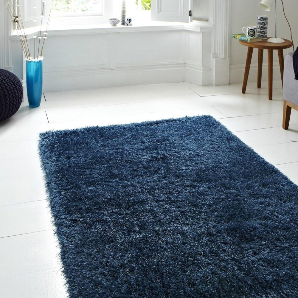 LR Home Hand Tufted Serenity Neptunian Denim/ Blue Polyester Rug - 8' x 10'/Surplus (8' x 10'/Surplus - Denim/Blue)