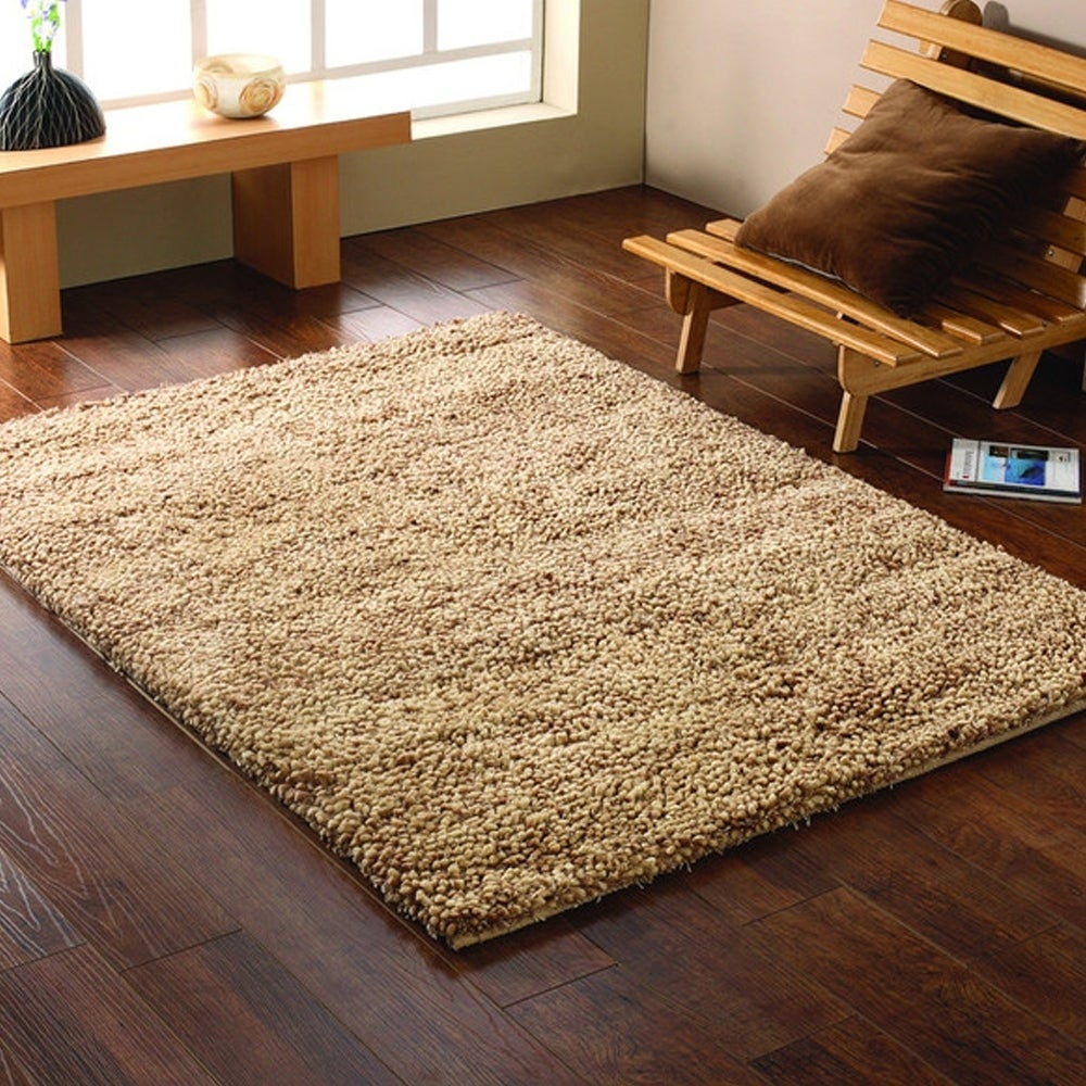 L and R Home Serenity Oatmeal Indoor Shag Rug (8' x 10') ...