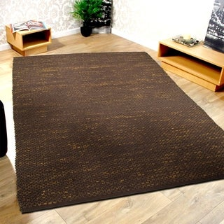L and R Home Espresso Jute and Cotton Distressed Natural Indoor Area Rug (5' x 7'9)