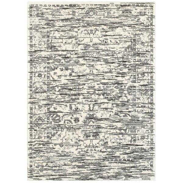 L R Home White and Grey Soft Shag Indoor Area Rug - 9' x 12'