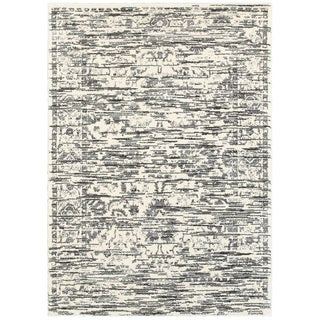 L and R Home White and Grey Polypropylene Soft Shag Indoor Area Rug (9' x 12')