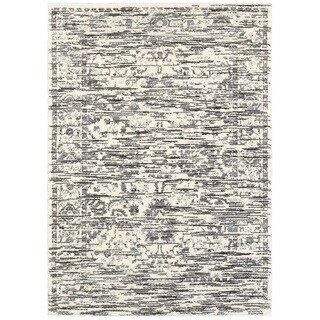 L R Home White and Grey Soft Shag Indoor Area Rug (9' x 12') - 9' x 12'