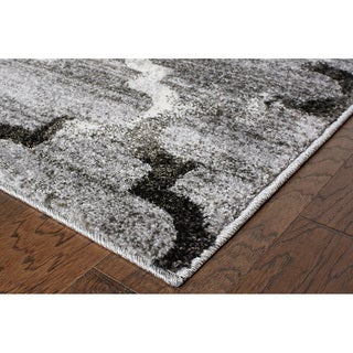 L and R Home Soft Shag White and Light Grey Polypropylene Indoor Area Rug (9' x 12')