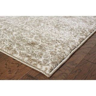 L and R Home Dark Beige and Cream Polypropylene Soft Shag Indoor Area Rug (8' x 10')