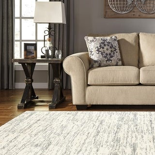 L and R Home Soft Shag Cream and Grey Polypropylene Indoor Area Rug (5' x 7'9)