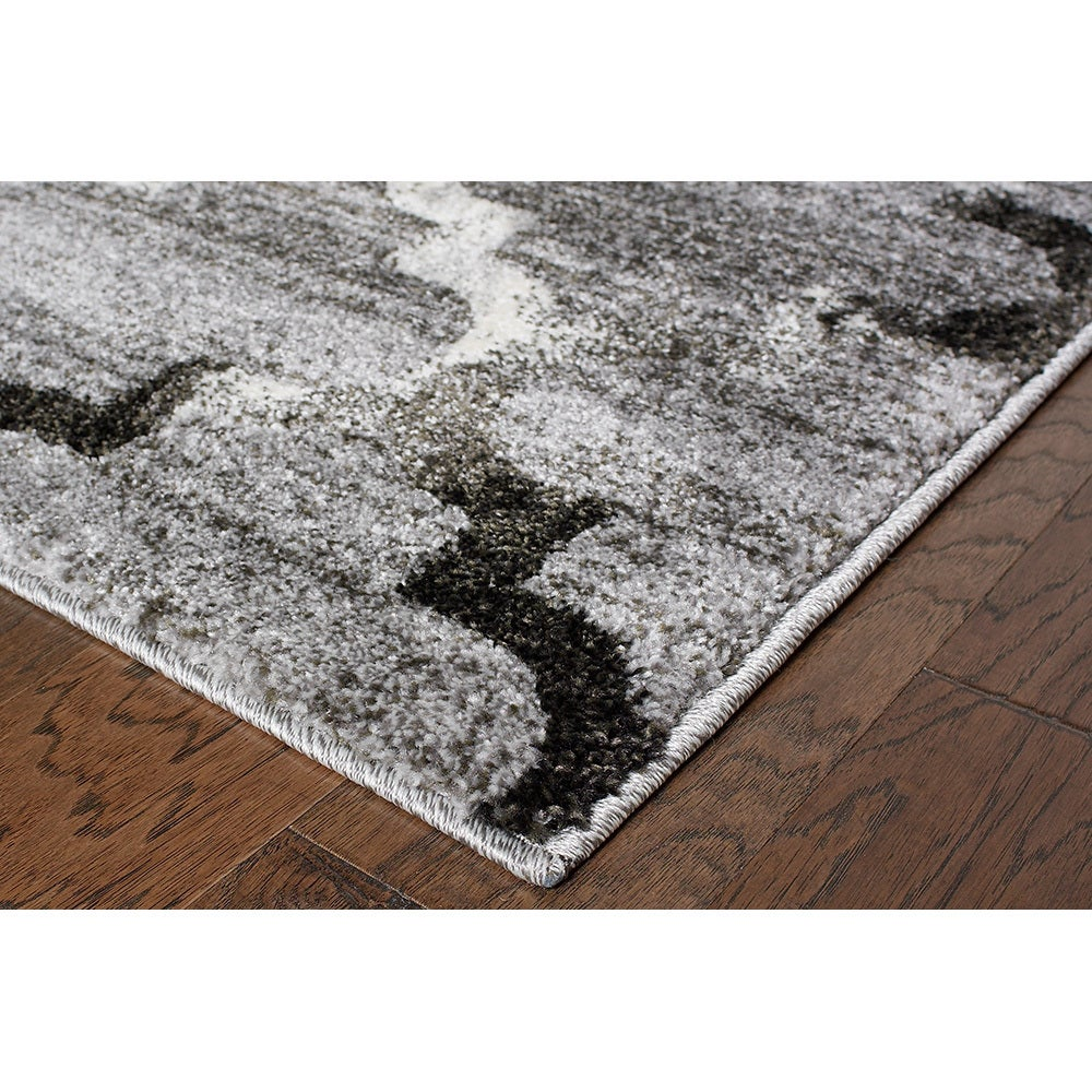 L and R Home White/Light Grey Shag Indoor Area Rug (5' x ...