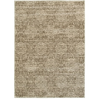 L and R Home Dark Beige/Cream Soft Shag Indoor Area Rug (5' x 7'9)