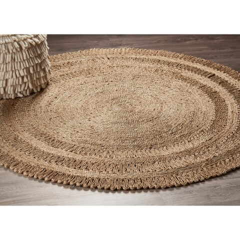 LR Home Hand Braided Natural Jute Dandelion Daydream Gray Jute Rug - 8' x 8'