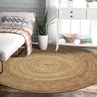 LR Home Natural Jute Braided Wheel Grey Indoor Area Rug ( 8' Round ) - 8' x 8'